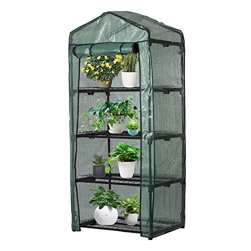 Foliengewächshaus 4 Stöckiges Gewächshaus Zimmer für Tomaten Gemüse Obst Blumen Garten Balkon(ohne Regal) 160 x 70 x 50 cm