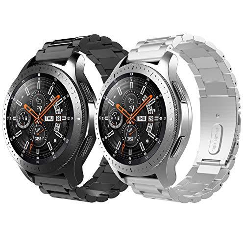 TiMOVO Cinturino Compatibile con Galaxy Watch 46mm / Gear S3 Classic/Gear S3 Frontier, [2 pz] Braccialetto in Acciaio Inossidabile, con Doppio Bottone Pieghevole con Attrezzo - Nero + Argento