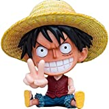 Figurine One Piece, Assis Luffy Figurine Jouet à Collectionner Figurine Pop Luffy Figurine Articulée en PVC Figurine Anime Statue Anime Figurine One Piece Luffy pour Voiture Chambre Chevet