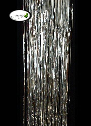 1St. Lametta 20x105cm (silber) // Weihnachtsgirlande Silvester Karneval Weihnachten Deko Christbaumschmuck Girllande