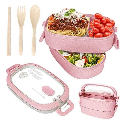 Fiambrera para niños, 1550 ml, con compartimentos, doble capa, para almuerzo, fiambrera a prueba de fugas, para microondas, para escuela, trabajo, picnic, viajes (rosa)