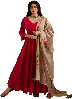 Style Amaze Women's Red Cotton Silk Semi Stitched Long Anarkali Salwar Suit with Digital Print Dupatta