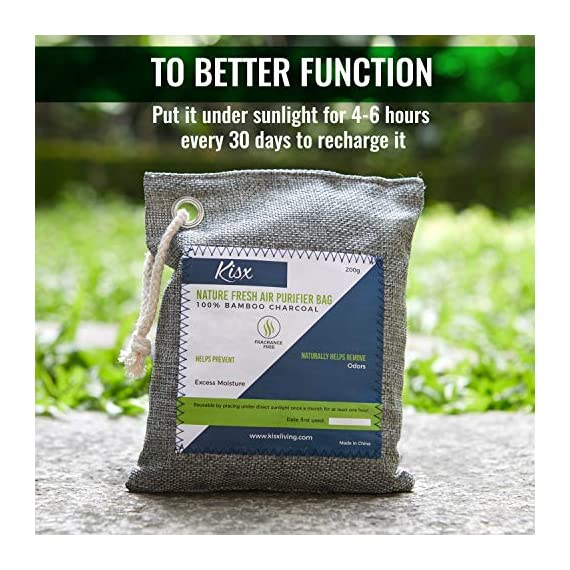 Nature Fresh Air Purifier Bags - Activated Charcoal Bags Odor Absorber, Odor Eliminator for House, Shoe Deodorizer, Car… 7 MEGA-VALUE ODOR NEUTRALIZER 6-PACK: The Kisx activated charcoal bags set is here to give you more bang for your buck and help you keep your home smelling great. Our charcoal bags odor absorber set is versatile for all spaces. NATURAL AIR PURIFIER BAGS FOR 24/7 FRESHNESS: Now you can breathe fresh air with our odor absorbers for home. Unlike plug-in deodorizers for home or any chemical-packed air deodorizer for home, our air purifying charcoal bags are made from 100% pure bamboo. GET RID OF FOUL ODORS ONCE & FOR ALL: Looking for a room deodorizer for home to eliminate unpleasant smells? Our charcoal air purifiers can be used as a natural air freshener, dog odor eliminators for home, car deodorizers or closet air freshener.