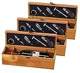 Carlo Milano Flaschenöffner: 3x 5-teiliges Sommelier-Set in edler Geschenkbox für 1 Weinflasche (Wein-Geschenkverpackung)