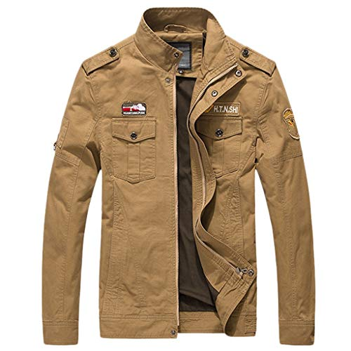 Uqiangy Mens Military Thicken Casual Slim High Neck Windproof Zipper Sherpa Lined Thermal Jacket(Khaki,XXXXL)