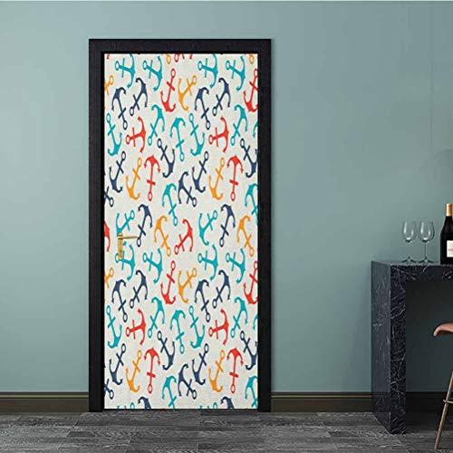 Vinilo adhesivo para puerta, diseño de aventura y exploración con espirales y formas de cachemira, utilizado para polvos, color azul oscuro y blanco, Multi - 05, 30.3 x 78.7 Inch