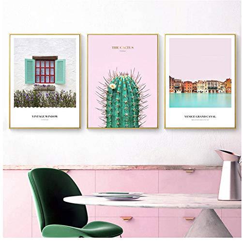 A&D Nordic pink Poster und Kunstdrucke Kakteenhaus Landschaft Wandbilder Leinwandbilder -50x70cm No Frame