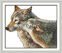 初心者のためのクロスステッチキット11CT刻印クロスステッチ刺繡セット2匹の動物WolfHandicraftクロスステッチ用品家の装飾のための針仕事ギフト-40X50CM