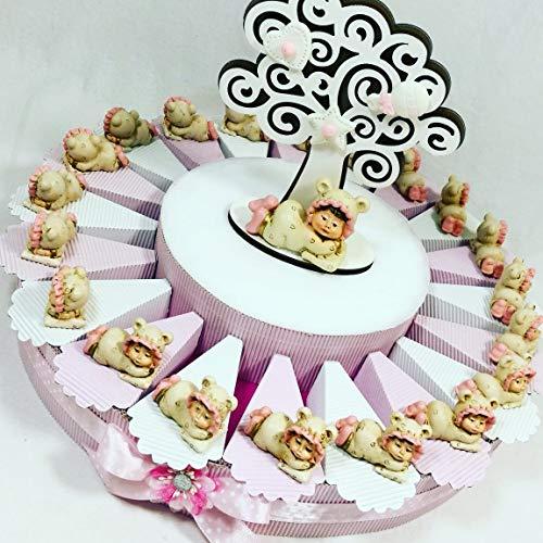 bomboniere Comunione Battesimo cresima con Torta bomboniera spedizione Gratis (Torta Bimba 20 fette Albero Centrale)