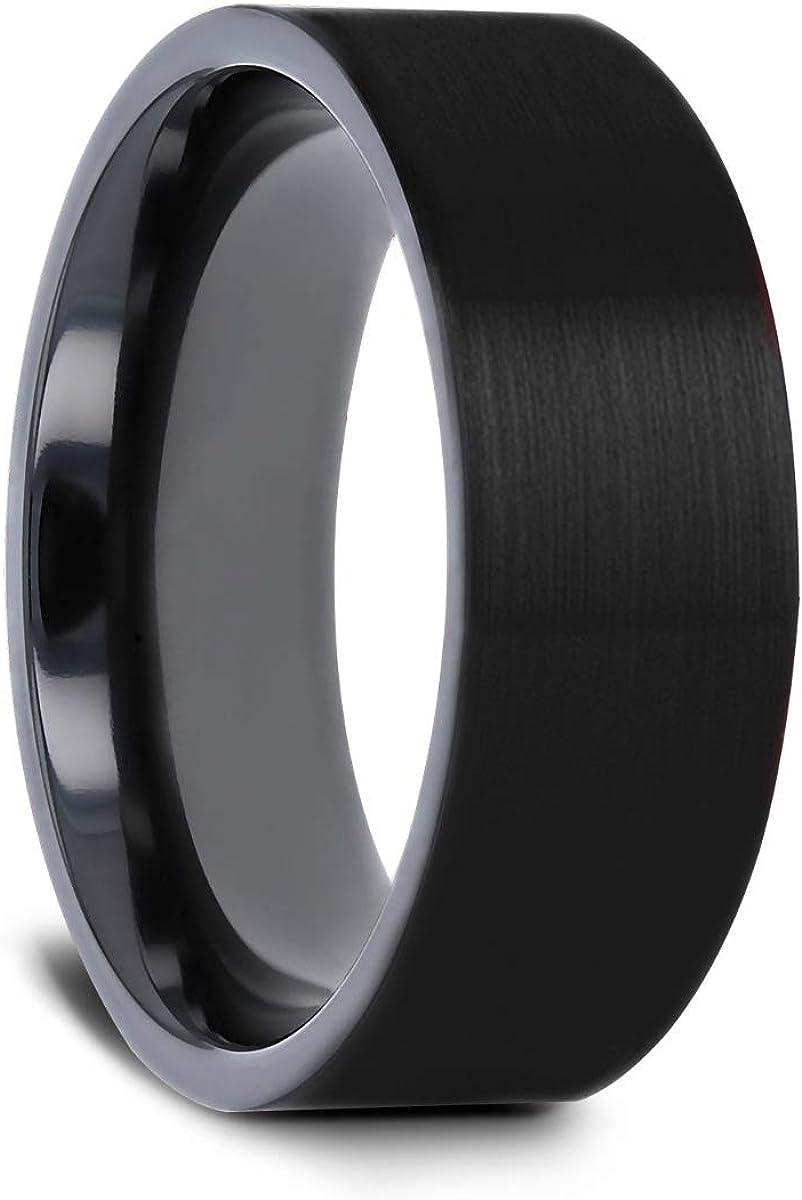 Thorsten San Bernardino | Titanium Rings for Men | Lightweight Titanium | Comfort Fit | Brushed Finish Flat Black Titanium Men's Wedding Band - 8 mm