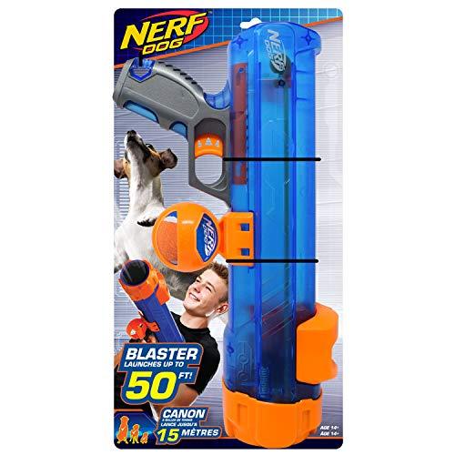 Nerf Dog - Pistola translúcida de 16 pulgadas con clip de bola,...