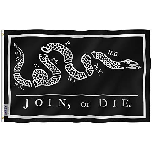 Anley Fly Breeze 3x5Pi Drapeau Black Join Or Die-Couleur Vive Résistant aux UV-Tête en Toile/Double Couture-Drapeau Serpent à Sonnette Polyester œillet en Laiton 3x5Pi