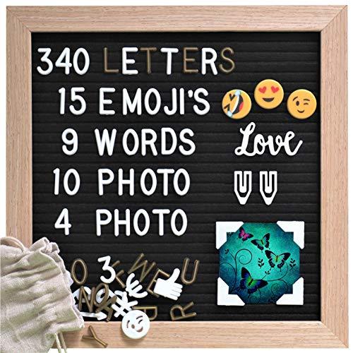 Gadgy Letterbord zwart Vilt | Met 15 emoji's, 10 fotoclips, 4 fotohoeken, 340 gouden & witte letters | Inclusief standaard | 25 x 25 cm.