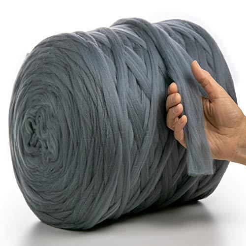 MeriWoolArt 100% lana de merino para punto y ganchillo con hilo de 2 cm de grosor, lana de merino gruesa para bufanda, manta y almohada XXL (gris oscuro, 100 g)