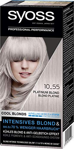 SYOSS Cool Blonds Stufe 3 10_55 Platinum Blond, Aufhellung um bis zu 4 Stufen, 3er Pack (3 x 115 ml)