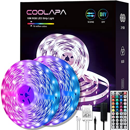 Tira Led 10M, COOLAPA Tira Luces LED, 12V 5050 SMD RGB, Control Remoto de 44 Teclas, Casa modo Música para Habitación, Techo, Hogar, Cocina, Navidad, 2 rollos 5m