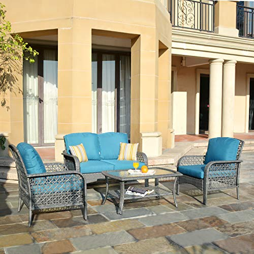 XIZZI Patio Sets, Outdoor Patio Furniture, All Weather Patio Furniture, PE Rattan Wicker with 2 Pillows and 1 Furniture Covers (Grey, Blue)
