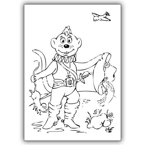 """4 Kinder Karten Kinder Ausmal Karte mit Drachen Dinolino im Märchen """"Der gestiefelte Kater. • edle Klappkarten Set mit Umschlägen innen blanko"""