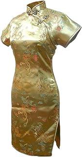 فستان سهرة صيني قصير مطبوع عليه تنين ذهبي من 7Fairy مقاس Cheongsam