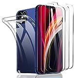 SHINEZONE 3 Stück+Hülle, Panzerglas & Handyhülle für iPhone 12 Pro Max 6.7 Mit 9H Festigkeit Anti-Kratz, Anti-Öl & blasenfreie Handy-Schutzfolie, Hülle Genaue Lochposition, Kompatibel mit Hülle