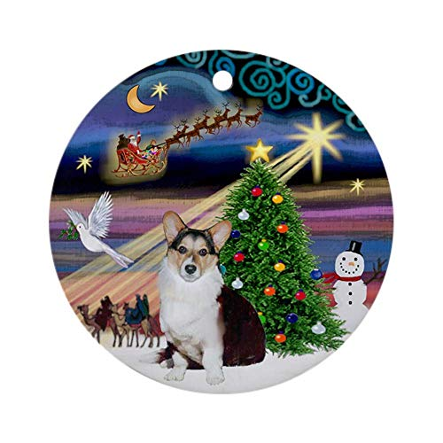 VinMea Xmas Decorative Hanging Ornament for Christmas Tree, Porcelain - Xmas Magic Cardigan Welsh Corgi Ornament Round Holiday Christmas Ornament