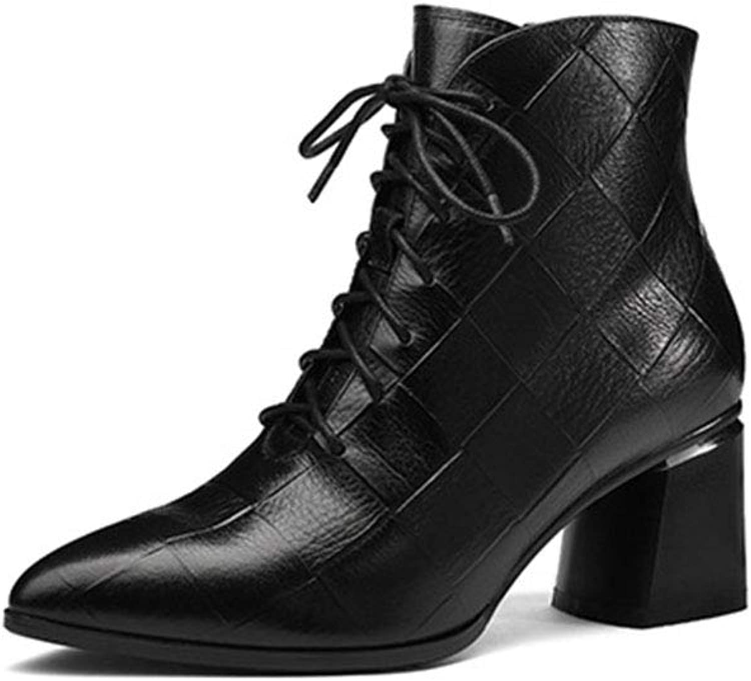 Women's Ankle Boots, Fashion Leather Ankle Boots European Rough High Heels Martin Boots for Wedding Party & Evening (color   A, Size   39)