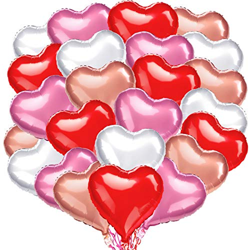 24 Pieces 18 Inch Heart Shaped Foil Balloons Valentines Love Balloons for Happy Birthday Wedding Anniversary Bride Shower Party Decorations