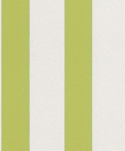 Vliestapete Streifen Gestreift weiß grün Tapete Rasch Prego 700213