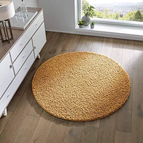 Taracarpet Shaggy Teppich Wohnzimmer Schlafzimmer Kinderzimmer Hochflor Langflor Teppiche modern gelb 120x120 cm rund