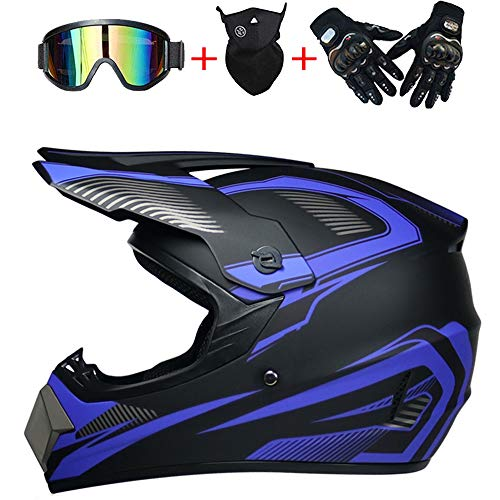 AKBOY Casco de Moto Infantil Motocicleta Cross Casco Motocross Niño ATV BMX Quad Cascos Carretera Moto Casco Adulto Off Road...