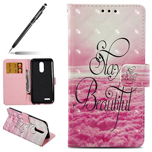 Uposao Custodia LG K10 2017 Cover Pelle, PU Leather Protettiva Caso Portafoglio Libro Disegno 3D Dipinto Modello PU Pelle Wallet Case Flip Cover per LG K10 2017 [EU-Version]-(Beautiful)