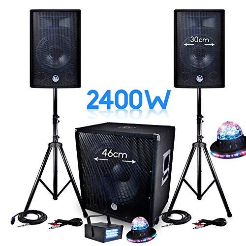 Pack Sono 2400W bms-1812Sub 46cm 2Lautsprecher 30cm + Kabel + Mini ledstrobe lytor + 2Auswirkungen roundiams UFO