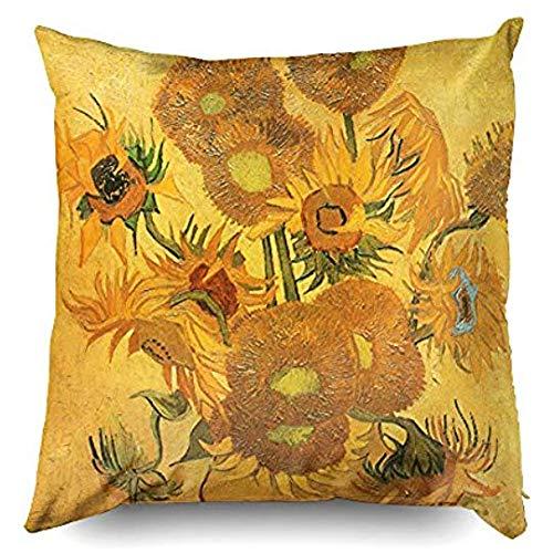 Beach345sley Federa per cuscino, 18 x 18 cm, con 15 girasoli di Vincent Van Gogh, federa decorativa per cuscino per casa, divano