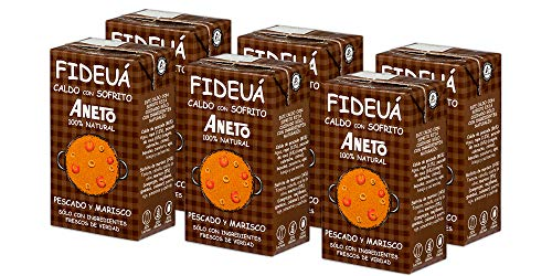 Aneto 100% Natural - Caldo para Fideuá de Pescado y Marisco - caja de 6 unidades de 1 litro