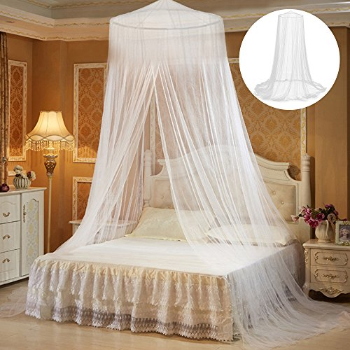 MeteorFlying Moskitonetz für Doppelbett Moskitonetz Baldachin rundes Mückennetz Bett Himmelbett Vorhang Insektenschutz Weiß