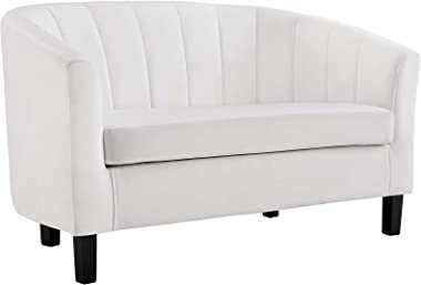 Modway Prospect Channel Tufted Upholstered Velvet Loveseat, White