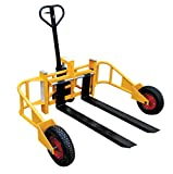 Vestil ALL-T-2-48 All-Terrain Pallet Truck, Yellow, 2000 lb. Capacity, Overall Dimensions 65' Width x 63' Length x 51' Height, 4' x 48' Forks, 3-1/8'-9' Height Range