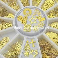 300PCS3dゴールドメタルネイルアートステッカーデコレーションホイールクリスマスミックスデザインDIYマニキュアネイルアクセサリーツール