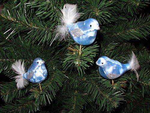 """3 tlg. Glas Vogel Set in\""""Ice Blau Silber\"""" - Christbaumkugeln - Weihnachtsschmuck-Christbaumschmuck"""