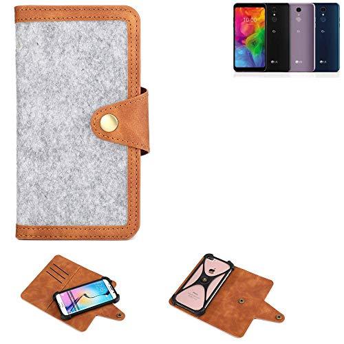 K-S-Trade® Handy-Hülle Für LG Electronics Q7 Alfa Schutz-Hülle Filz-Hülle Kunst-Leder Hellgrau Braun (1x)