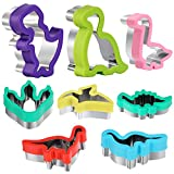 Dinosaur Cookie Cutters Set - Stainless Steel Shaped Cookie Candy Food Cutters Molds for DIY, Kitchen, Baking, Kids Dinosaur Theme Birthday Party Supplies Favors (8pack)