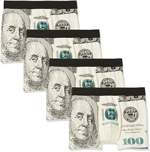 Unbekannt Herren Baumwoll Boxershorts Dollar Look 4er Pack, Größe XX-Large (2XL), Farbe je 4X Dollar Motiv