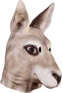 Amosfun Halloween Mask Kangaroo Costume Mask Latex Mask Full Face Mask Headgear for Halloween Party