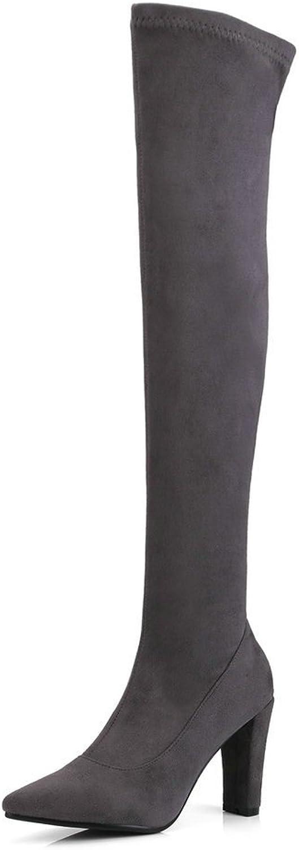 AnMengXinLing BEIJIA-90-636-1, Damen Schenkelhohe Stiefel, Grau - grau - Gre  40