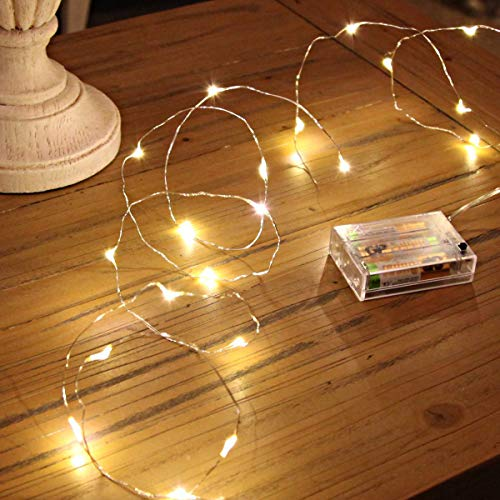 Ariceleo Led Fairy Lights Battery Operated, 2 Packs Mini Battery Powered Copper Wire Starry Fairy Lights for Bedroom, Christmas, Parties, Wedding, Centerpiece, Decoration (5m/16ft Warm White)