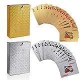 FT-SHOP Jeu de Carte Lot de 2 Cartes de Poker Imperméable en Feuille, Outil de Tours de Magie Classique pour la Fête et Le Jeu, 1 Or + 1 Argent