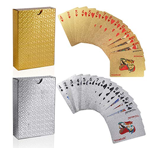 FT-SHOP Carte da Gioco 2PCS Impermeabile Carte da Magia Oro e Argento Carte da Magia per Gioco di Carte Family Party Game