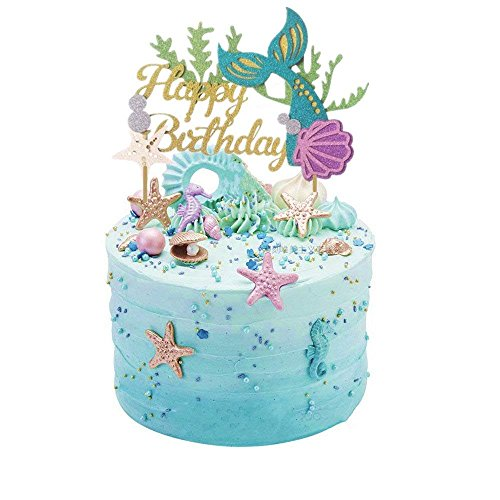 Glitter Mermaid Cake Topper Happy Birthday Cake Picks Mermaid Cake Decoration for Mermaid Baby Shower Birthday Party Supplies By ZiYan