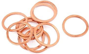 DealMux 10pcs 20 mm x 14 mm x 1 mm plana de cobre del anillo Crush arandela de sellado de juntas de tornillos