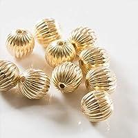 紗や工房 スペーサー ボール大 9.5mm ゴールド 10個 10ケ 大き目 ちょこっと CCB製ビーズ ハンドメイド アクセサリーパーツ